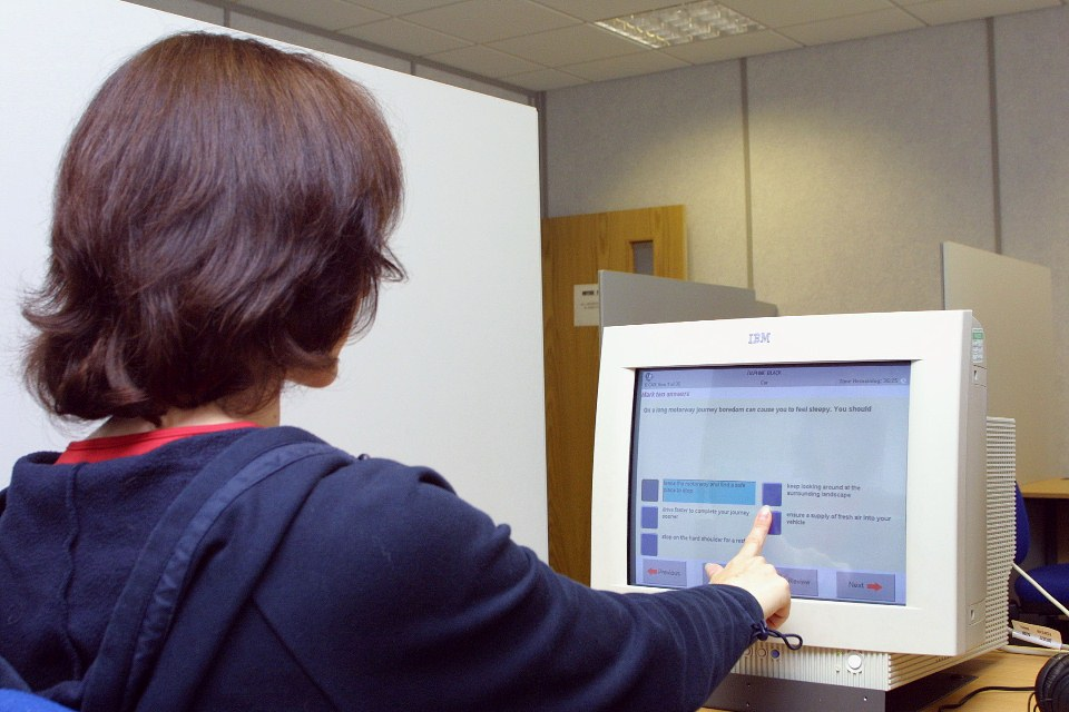 Touch-screen theory test
