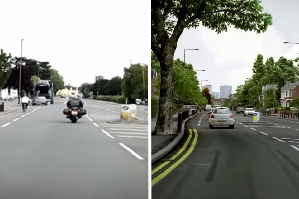 An old-style video clip (left) and an updated CGI clip (right)