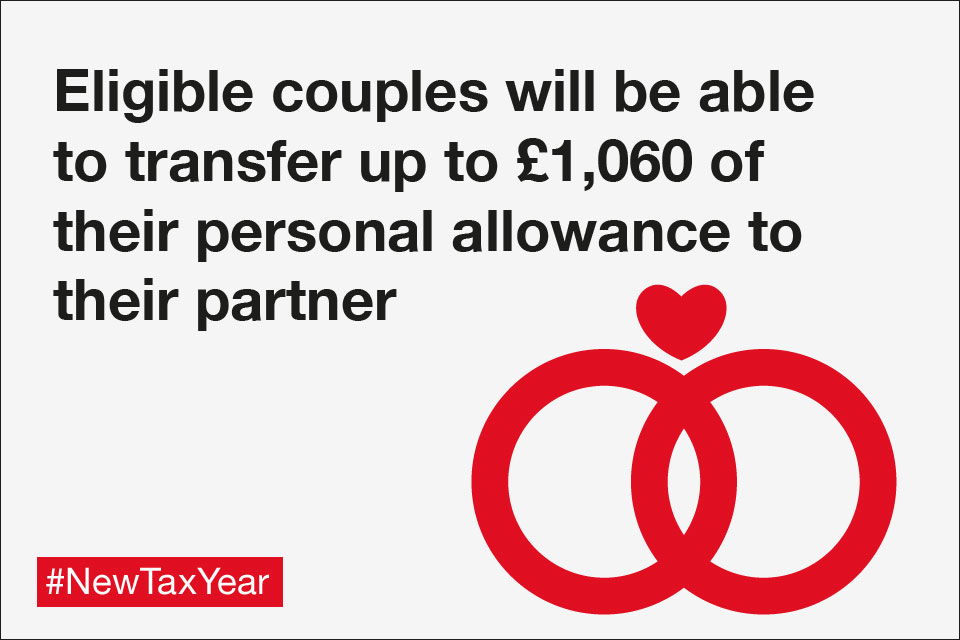 Eligible couples will be able to transfer up to £1,060 of their personal allowance to their partner