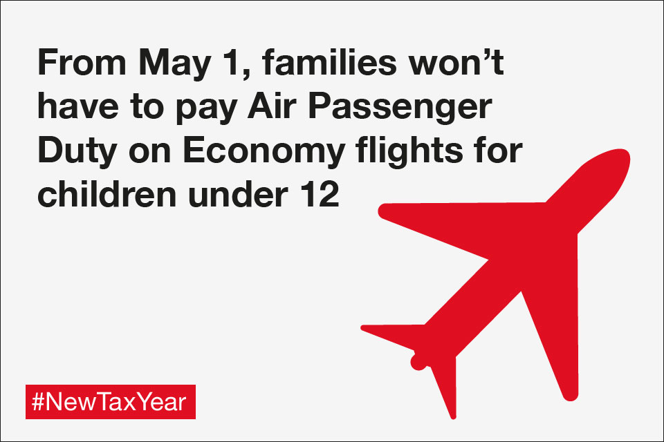 From May 1, families won't have to pay Air Passenger Duty on Economy flights for children under 12