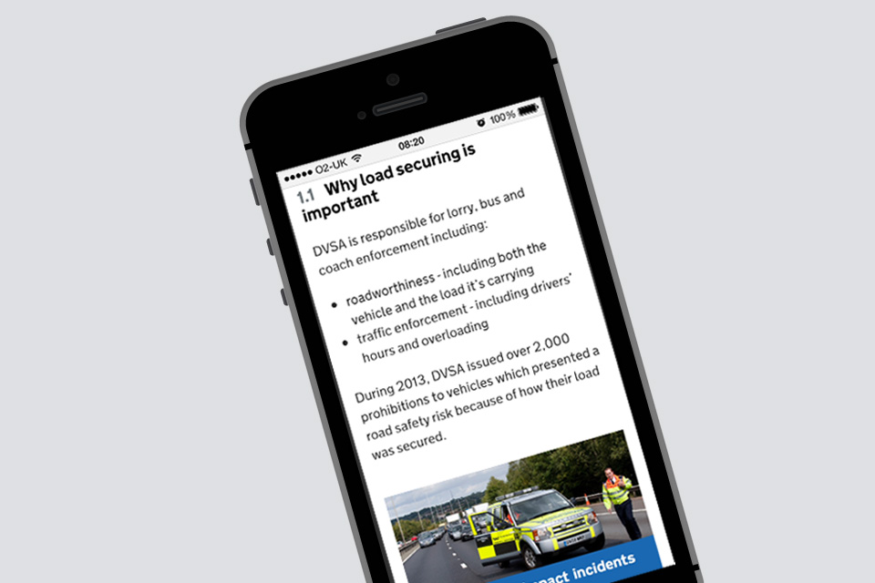 Load securing guide on a mobile phone