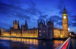 An evening picture of the Houses of Parliament and Big Ben in London