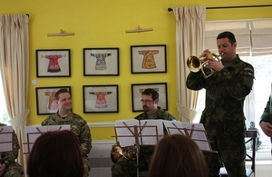 British military musicians hold a short concert for members of the Down Syndrome Association of Macedonia.