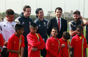 Wales National Football Team in Kick About with Children from Arab and Jewish Communities
