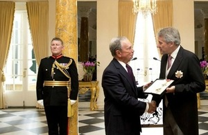 Michael Bloomberg Receives Honorary Knighthood during Ceremony at British Ambassador's Residence