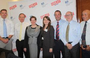 Ambassador Fiona Clouder with British Honorary Consuls and Vice Consul María José Barrientos.