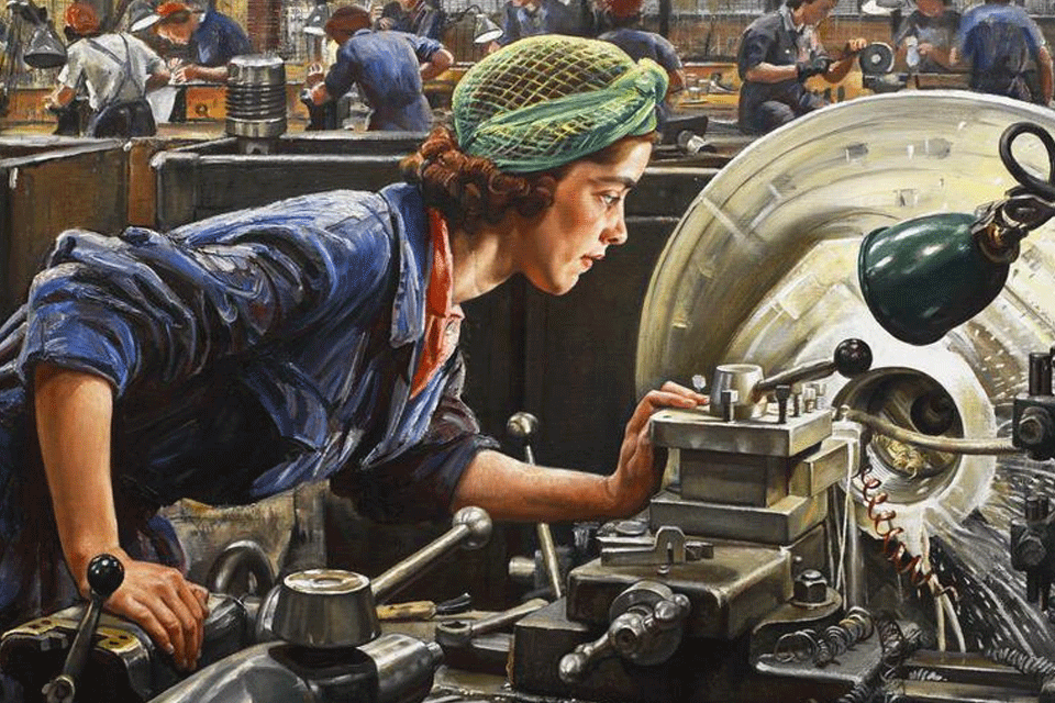 Ruby Loftus, 'an outstanding factory worker', screwing a Breech-ring at the Royal Ordinance Factory in Newport.