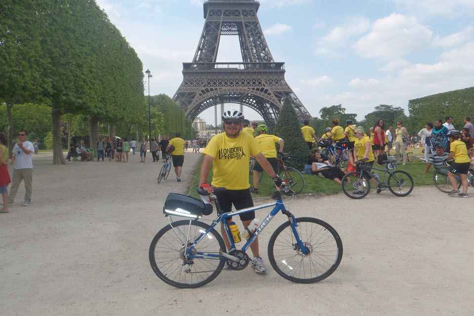 Neill in Paris after the London to Paris charity ride