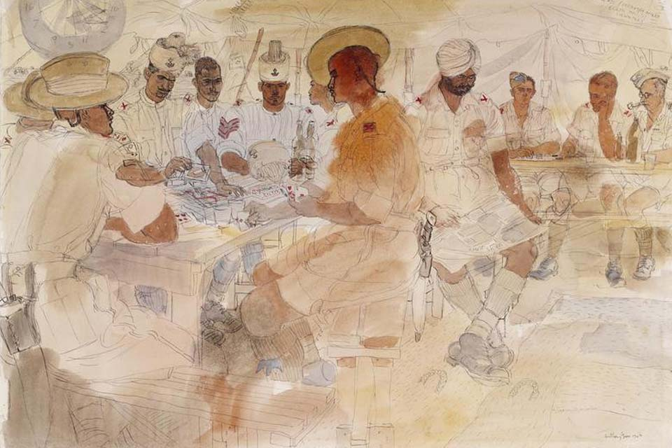 4th Indian Division: a canteen group comprising Gurkhas, Rajputanas, Jats, Sikhs and men of the Essex Regiment, 1943, by Anthony Gross.