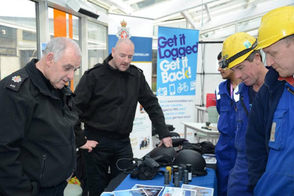 PCs John Davidson and Lee Leyland at the security awareness day