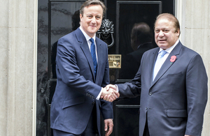 Prime Minister David Cameron and Prime Minister Sharif of Pakistan outside Number 10 Downing Street