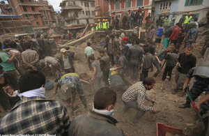 People working to clear rubble after the earthquake in Kathmandu, Nepal. Picture: Laxmi Prasad Ngakhusi / UNDP Nepal