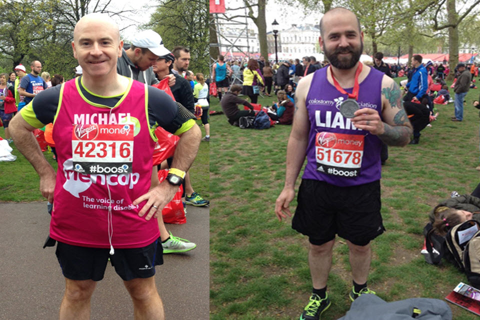 Supt Mick Vance (left) and Sgt Liam Grist (right) at the Marathon.