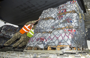 Humanitarian aid is loaded onto a C17 aircraft at RAF Brize Norton earlier today. Picture: Steve Lympany/MOD