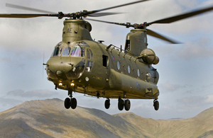 RAF Chinook helicopter. Picture: Ian Forshaw/Crown Copyright