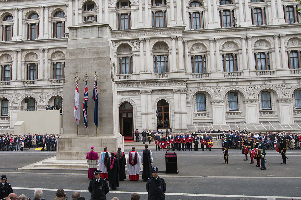 A Service of Remembrance at the Cenotaph to mark the 70th anniversary of Victory in Europe Day