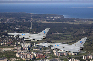 A flight over Tallinn City, Estonia, by two RAF Typhoons from 6 Squadron on NATO's Baltic Air Policing Patrol. [Crown Copyright]