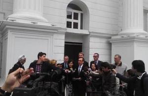 US Ambassador Baily reading the statement on behalf of the Ambassadors.
