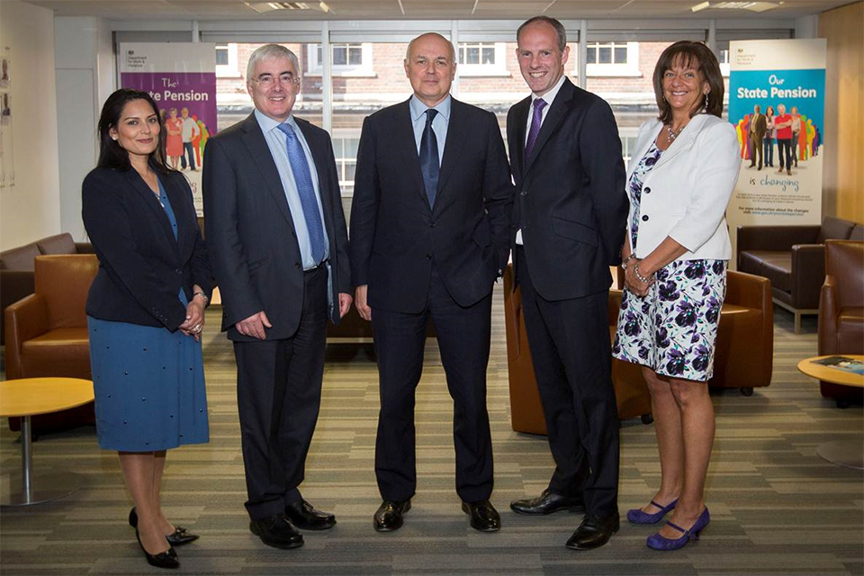Left to right: Priti Patel, Lord Freud, Iain Duncan Smith, Justin Tomlinson and Dr Ros Altmann