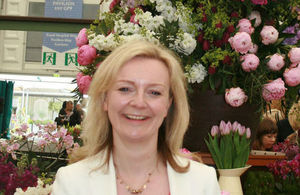 Secretary of State, Elizabeth Truss, at the RHS Chelsea Flower Show 2015