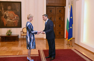The British Ambassador to Bulgaria Emma Hopkins OBE presents her credentials to President Plevneliev