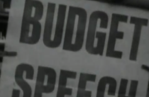 Still from a Budget video - it reads 'Budget speech'