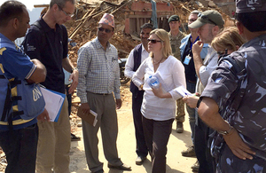 Justine Greening is visiting Nepal to see how UK aid is helping earthquake survivors on the ground. Picture: Zoe Paxton/DFID