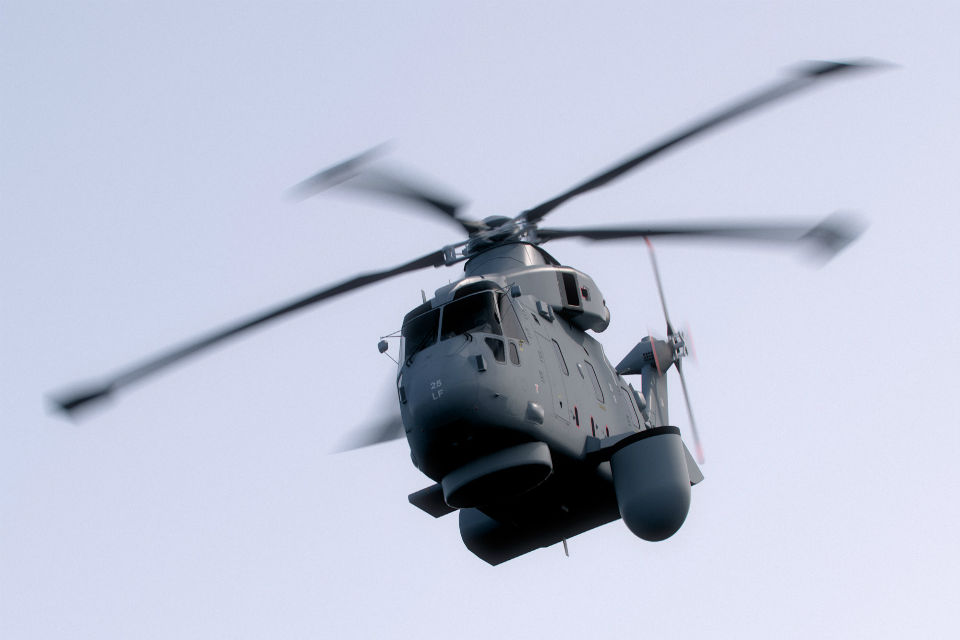 Computer-generated image of a Merlin Mk2 with the Crowsnest surveillance system fitted to the side of the helicopter. The system will provide long range, early detection of potential air and surface threats. (Picture: Copyright Thales)
