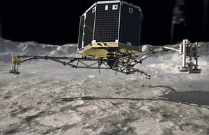 Philae space lander touching down