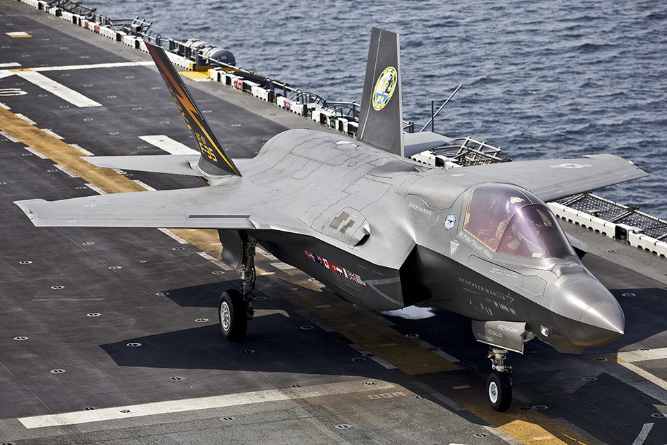 United States Marine Corps USS Wasp carrying out operational tests for F35B fighter jets