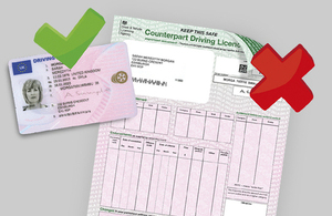 Abolition of the paper counterpart to the photocard driving licence