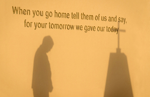 Closeup of the words on the original Camp Bastion memorial