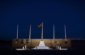 The Camp Bastion Memorial in Afghanistan at night
