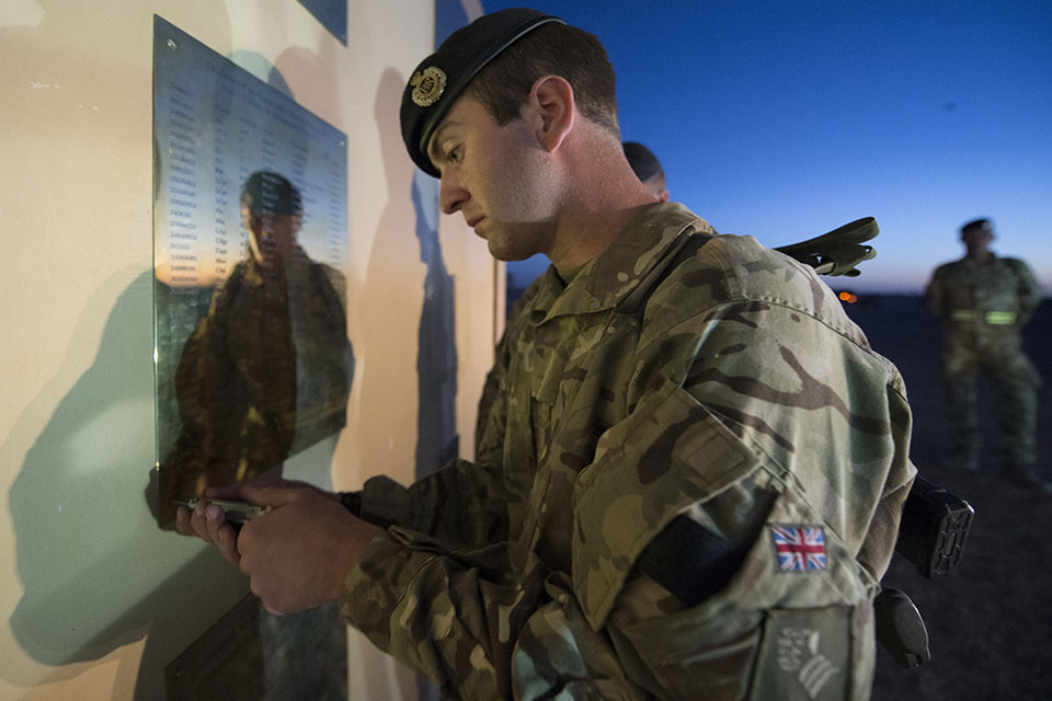 Troops removing plaques from the former Camp Bastion Memorial
