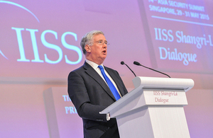 Mr Fallon speaking at Shangri-La Dialogue [Credit: IISS]