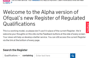 The new register of regulated qualifications