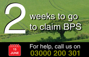 Graphic showing '2 weeks to go' and giving the Rural helpline number (03000 200 301)