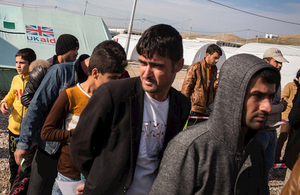 Displaced Iraqis receiving assistance at a camp supported by UK aid in northern Iraq. Picture: Andrew McConnell/Panos for DFID