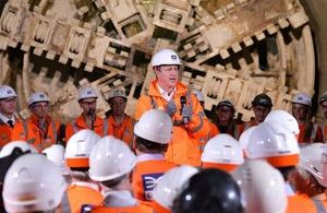 The Prime Minister at the Crossrail tunnelling completion event.