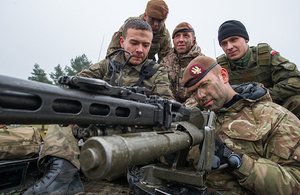 UK and Polish soldiers on a joint exercise in Eastern Europe
