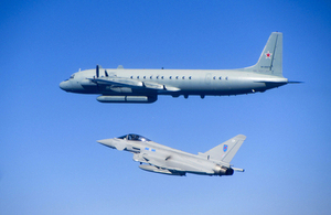 An RAF Typhoon intercepts a Russian surveillance aircraft