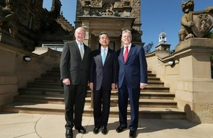 First Minister the Rt. Hon. Peter D Robinson (right), MLA and deputy First Minister Martin McGuinness (left), MLA met with the Chinese Foreign Minister, Wang Yi (middle) at Stormont Castle.