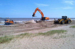The EA's beach renourishment programme to reduce flood risk has been completed for 2015