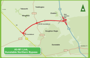 A5-M1 link road, Dunstable Northen Bypass map