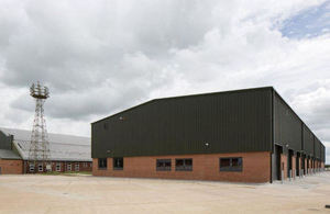 One of the completed hangars
