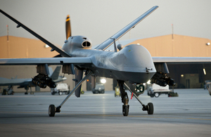 A Royal Air Force Reaper Remotely Piloted Air System at Kandahar Airfield in Afghanistan.