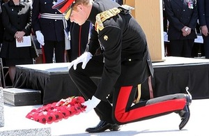 Prince Harry laying wreath