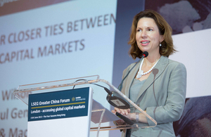 Consul General Caroline Wilson spoke to industry experts the London Stock Exchange's Greater China Forum on the theme of the case for closer ties between UK and China capital markets