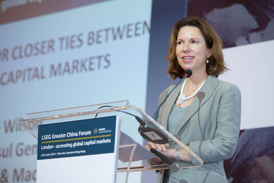 British Consul General to Hong Kong and Macao Caroline Wilson speaks at LSE's Greater China Forum on the theme of the case for closer ties between UK and China capital markets