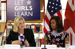International Development Secretary Justine Greening and First Lady Michelle Obama discuss importance of education Picture: Simon Davis/DFID